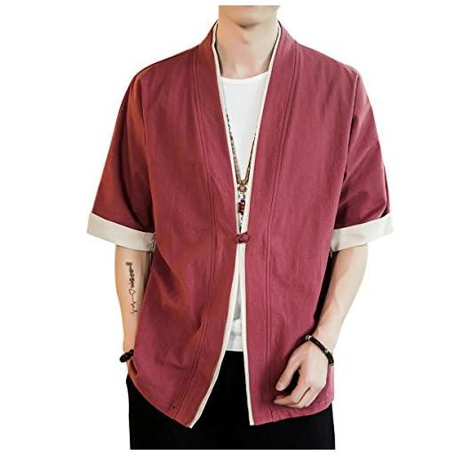 FOMANSH シャツ メンズ 半袖 開襟シャツ カジュアル ゆったり 無地 和風 綿 大きいサイズ 夏 春秋 M-5XL