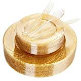 gold salad spoons - WDF 40Guest Gold Plates with Disposable Plastic Silverware,Gold Glitter Design Plastic Tableware sets include 40 Dinner Plates,40 Salad Plates,40Forks, 40 Knives, 40 Spoons (Gold Glitter Dinnerware)