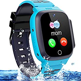 Kids Waterproof Smart Watch Phone Girls Boys Smartwatch with LBS Tracker Two Way Call SOS Micro Chat Camera Anti-Lost…