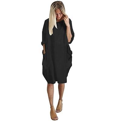 Ba Zha Hei Mujer Vestido de manga larga de color sólido de cuello redondo de mujer de gran tamaño de Vestido de Transpirable, Cómodo, moda ropa dress mujer skirt Vestido de Fiesta Manga Larga Elegantes Co