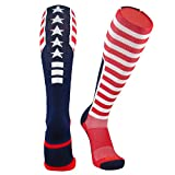 TCK Elite USA Flag Patriot Red White Blue Basketball Football Knee High Socks (Large (10-13))