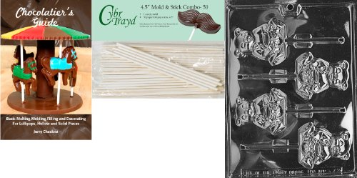 Cybrtrayd 'Honey Bear Lolly' Animal Chocolate Candy Mold with 50 4.5-Inch Lollipop Sticks and Chocolatier's Guide by CybrTrayd