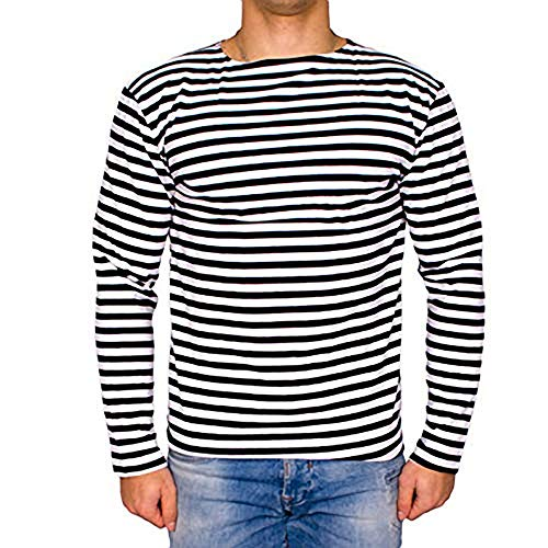 Genuine Russian Navy Blue Striped Long Sleeved T-Shirt Top (Small - 38 inch) ()