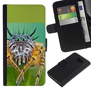 Billetera de Cuero Caso Titular de la tarjeta Carcasa Funda para Samsung Galaxy S6 SM-G920 / Cool Spyder Eyes / STRONG