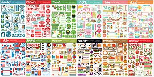Sticker Pack - 12 Months Deluxe Stickers -Sticker Pack Christmas Calendar Card Scrapbook - by Miss Kate Cuttables ()