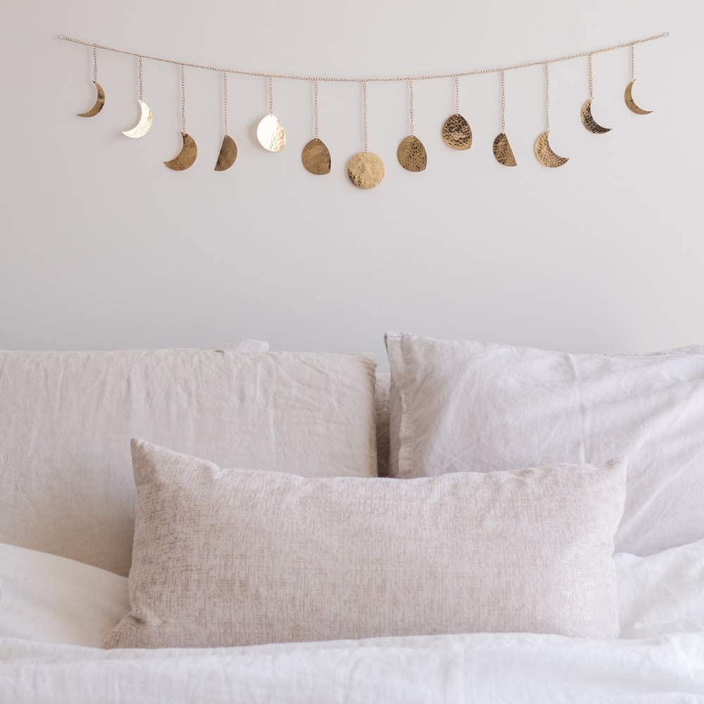 Moon Decor Wall Decorations | Boho Accents Wall Decor | Moon Phases Wall Art | Moon Phase Wall Hanging | Bohemian Decor for Bedroom, Home, Living Room, Apartment or Dorm (Long Garland, Gold Metal)