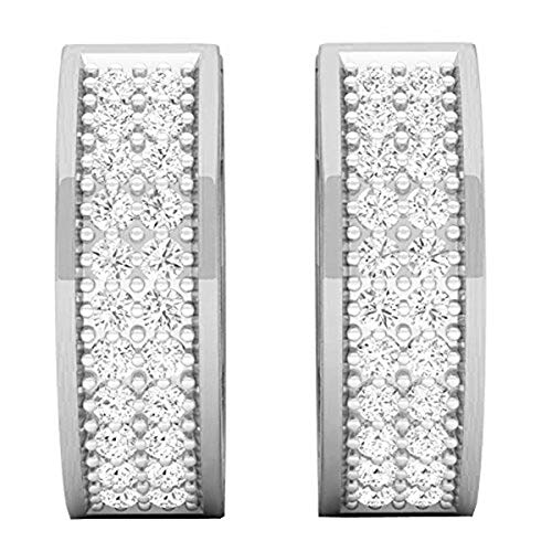 - Dazzlingrock Collection 0.20 Carat (ctw) 10K Round Cut White Diamond Huggies Hoop Earrings 1/5 CT, White Gold