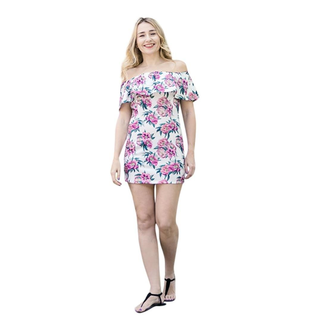 Scaling ♥Floral Maxi Girls Dresses, Women Girls Floral Print Ruffles Off Shoulder Dress Family Clothes (White for Women, XL)