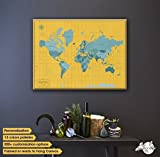 Break Boundaries With Push Pin Map Of The World on Canvas, World Map with Push Pins, Personalized Anniversary Gift for Couples