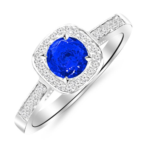 14K White Gold Classic Square Halo Single Row Pave Set Diamond Engaement Ring with a 1 Carat Blue Sapphire Heirloom Quality Center (Set Sapphire Single)