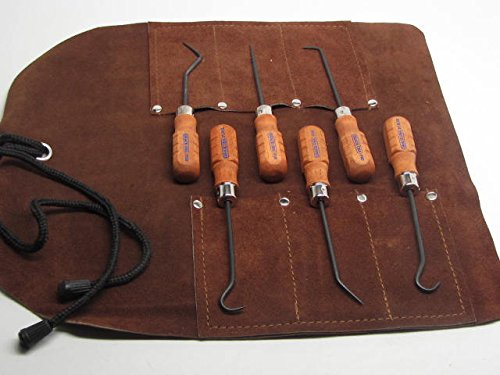 UJ Ramelson Co Grace USA HP-6 Hook & Pick Set - Gunsmith Watch Jewelry Repair DIY Tools - Stock Leather Tool Roll - Made in The USA (Best Gunsmith In Maine)