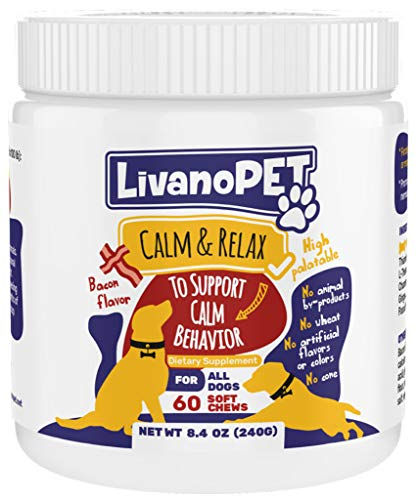 LIVANOPET Organic Calming Treats for Dogs, Bacon Flavored Chewable Supplements - Helps to Relieve Stress & Anxiety, German Brand