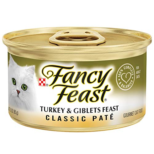 - Purina Fancy Feast Grain Free Pate Wet Cat Food; Classic Pate Turkey & Giblets Feast - 3 oz. Pack of 24.