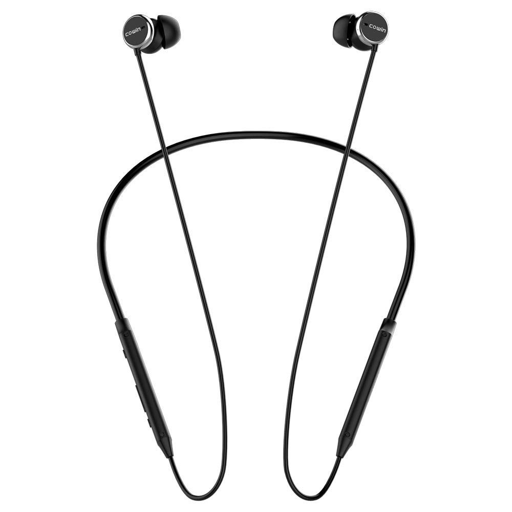 COWIN HE5A Active Noise Cancelling Headphones Bluetooth Earphones Wireless Headphones, Richer Bass HiFi Stereo Earbuds with Mic, Bluetooth 4.2 Sports Neckband Headset 8 Hrs Playtime - Black