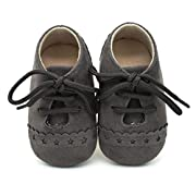 Voberry Baby Girl Boys Lace Up Sneakers Soft Soled Anti-Slip Toddler Shoes (0~6 Month, Dark Grey)