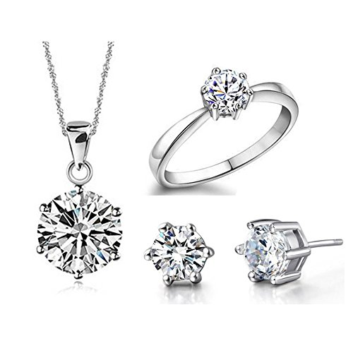 Uloveido Silver-Tone Round Cut Cubic Zirconia Simple Earrings Ring and Pendant Necklace Jewelry Set T043-Silver-White-7 (Pendant Set Tone)