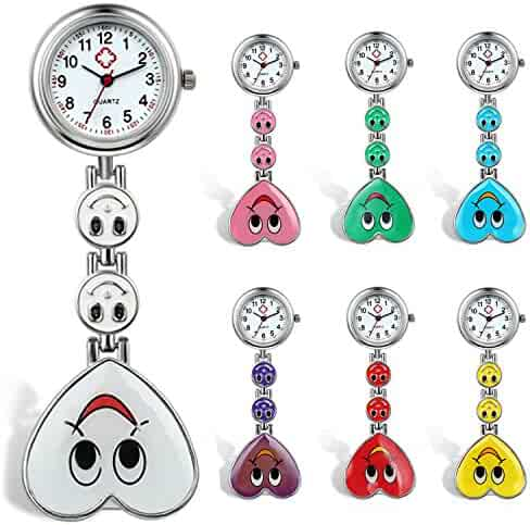 Womens Nurses Watch 7Pcs Cute Candy Color Smile Heart Face Clip-on Medical Doctors Lapel Clasp Pocket Watch