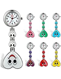 Candy Color Smile Heart Face Nurse Clip Watch Medical Lapel Pocket Clasp Watch(7 Colors) (Pack of 7)