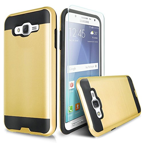 Galaxy On5 Case With TJS® Tempered Glass Screen Protector Included, Dual Layer Shockproof Hybrid Armor Drop Protection Metallic Brushed Finish Case Cover For Samsung Galaxy On5/G550 (Gold)