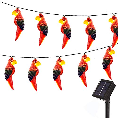Obrecis 10 LED Parrot Solar String Light, Light Up Bird Decor Animal Outdoor Lamp Gift for Garden, Patio, Yard, Tree -7.38ft (Parrot)
