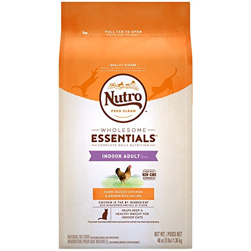 (NUTRO WHOLESOME ESSENTIALS Indoor Adult Natural Dry Cat Food Farm-Raised Chicken & Brown Rice Recipe, 3 lb. Bag)