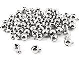 Dealglad New 100pcs Jingle Small Bells Christmas Xmas Wedding Decoration Beads Jewelry Findings Charms (Silver, 12mm)