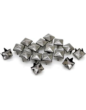 Angelakerry 50pcs Black Rivet Cone Spikes Spots Screw Studs Punk Leather Rock Back Craft DIY Bullet