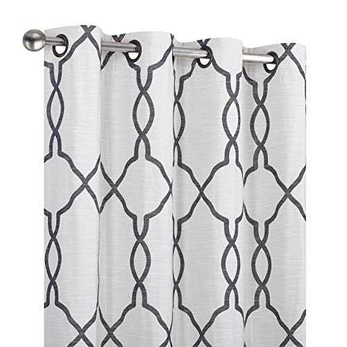 Regal Home Collections 2 Pack Ultra Luxurious Woven Jacquard Atlee Reversible Lattice Grommet Top Room Darkening Thermal Shabby Curtain Drapes - Assorted Colors & Sizes (Charcoal Gray, 84 in. - Reversible Thermal