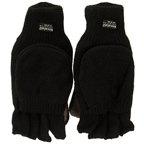Wool Acrylic Glove Mitts - Black