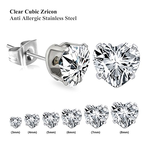 LUXUSTEEL Anti-allergic 3-8mm Stainless Steel Stud Earrings with Heart Shape Rhinestones for Women