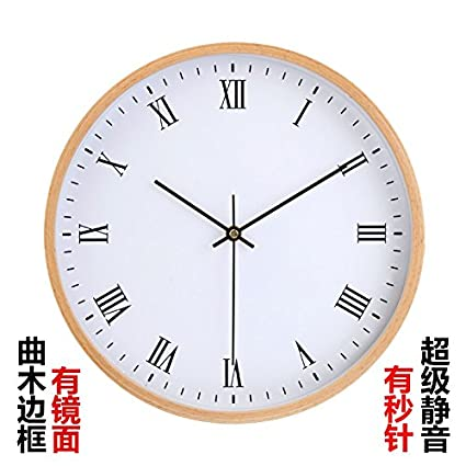 Amazon.com: Imoerjia 12-Inch Wooden Wall Clock Super Silent Round Clock for Bedroom, Living Room, 12-Inch Full-Scale Digital Has A Wooden Pointer: Home & ...