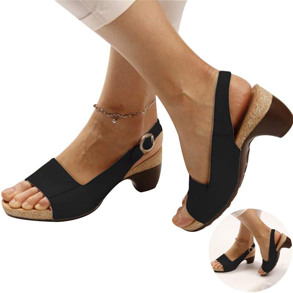 Womens Wedges Cork Roman Sandals Retro PU Leather Slingback Open Toe Ankle Strap Buckle Sandals Midi Heel Office Work Shoes (Black, 5 M US)