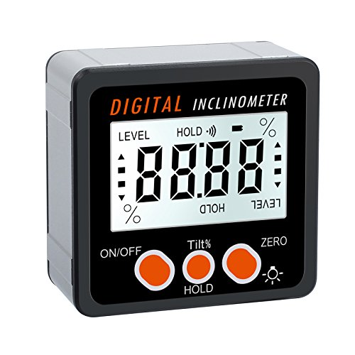 AUTOUTLET Digital Inclinometer Protractor 4x90° Level Box Angle Finder Backlight Level Gauge Bevel Gauge with Magnetic Based IN/FT,mm/m