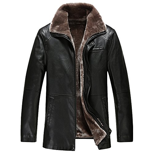 TEERFU Men's Winter Warm Sheep Faux Leather Coat Jacket Lamb Wool Lined,US S : Chest 46.9'',Black