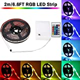 mantel decorating ideas LED Strip Lights Battery Powered, SOLMORE 6.6ft 60LED RGB Strip Lights Rope Lights Waterproof Flexible Color Changing RGB LED Light Strip with Remote Control for DIY Party Living Room