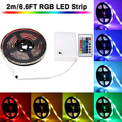 LED Strip Lights Battery Powered, SOLMORE 6.6ft 60LED RGB Strip Lights Rope Lights Waterproof Flexible Color Changing RGB LED Light Strip with Remote Control for DIY Party Living Room ()