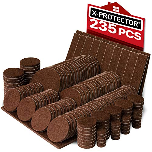X-PROTECTOR Premium Giant Pack Furniture Pads 235 Piece! Great Quantity of Felt Pads Furniture Feet with Many Big Sizes - Your Best Wood Floor Protectors. Protect Your Hardwood & Laminate Flooring! (Best Floor Protectors For Hardwood Flooring)