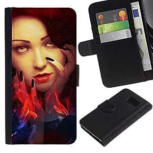 All Phone Most Case / Oferta Especial Cáscara Funda de cuero Monedero Cubierta de proteccion Caso / Wallet Case for Samsung Galaxy S6 // Woman Red Head Fire Witch Eyes Wizzard
