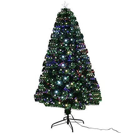 goplus 7ft artificial christmas tree pre lit optical fiber tree 8 flash modes w - 7ft Artificial Christmas Tree