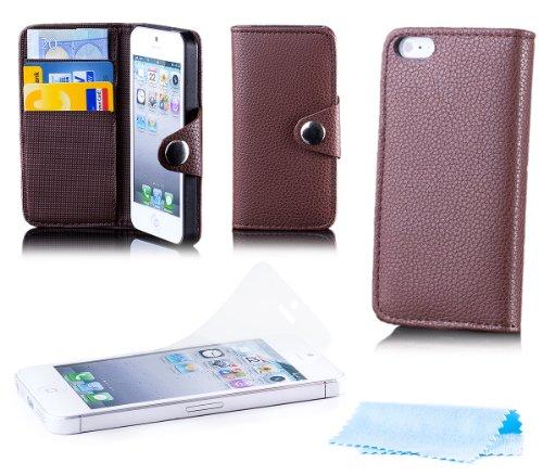 Apple iPhone SE / 5S / 5 | iCues bolsillo botón de plegado Rojo | [Protector de pantalla, incluyendo] cuero - libro con bisagras de la manga bolsillo del teléfono celular bolsa protectora para abrir l Marron