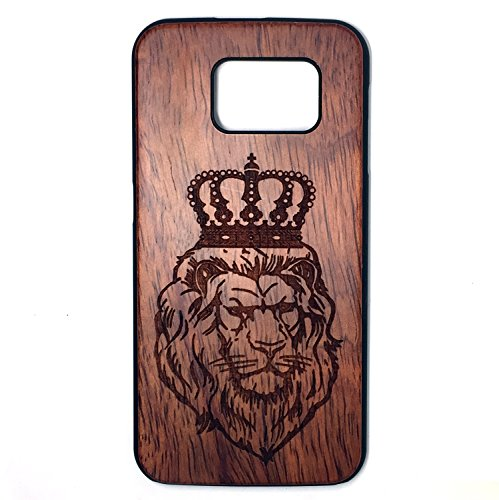 (Samsung Galaxy S6 Case, Real Wood Non Slip Soft Wood Slim Bumper, Scratch Resistant Grip Ultra Light PC Snap Back Cover with Corner for Samsung Galaxy S6 G9200 (5.1 Inch) (Rosewood Lion Crown))