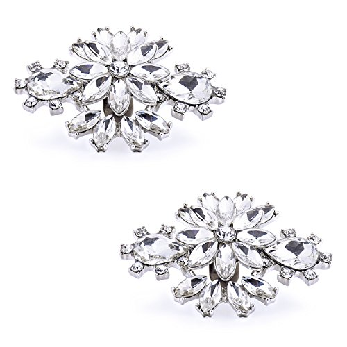 ElegantPark AK Wedding Dress Clutch Double Rhinestones Flowers Silver Shoe Clips 2 ()