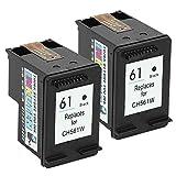 INKUTEN (TM) Remanufactured Ink Cartridge Replacement For Hewlett Packard HP 61 CH561WN CZ073FN (2 Black) 2-Pack