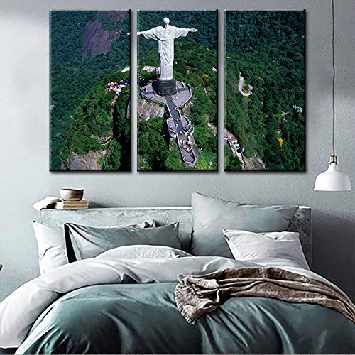 Jesus Christ Pictures Religious Artwork for Bedroom Redeemer statue Paintings 3 Piece Canvas Corcovado Mountain Landscape Wall Art Home Decor for Living Room Framed Stretched Ready to Hang(40''x60'') ()