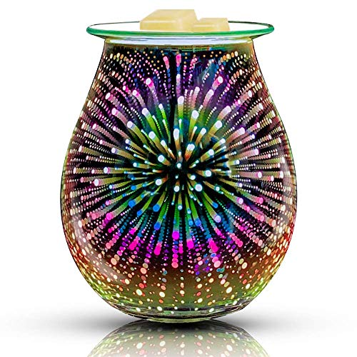 QUSUP 3D Glass Electric Wax Melt Warmer Candle Warmer Wax Burner Melter Fragrance Warmer for Home Office Bedroom Living Room Gifts & Decor (3D Fireworks)