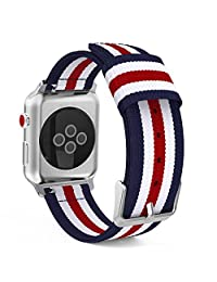 MoKo Strap for Apple Watch Series 3 Bands, Fine Woven Nylon Adjustable Replacement Wristband Strap for iWatch 38mm 2017 Series 3 / 2 / 1, Blue & White & Red (Not fit 42mm Versions)