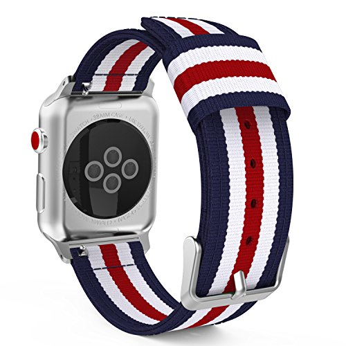 MoKo Compatible Band Replacement for Apple Watch 38mm 40mm Series 4/3/2/1, Fine Woven Nylon Adjustable Replacement Wristband Strap - Blue & White & Red (Not fit 42mm 44mm Versions)
