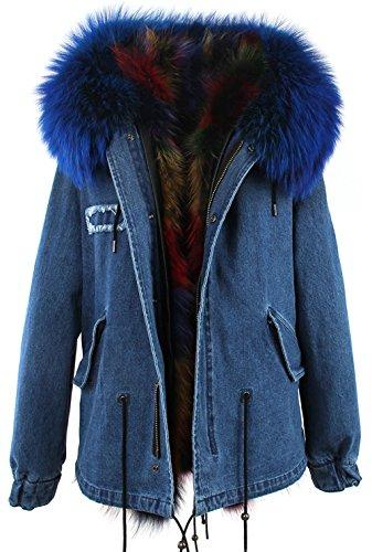 S.ROMZA Women Real Warm Raccoon Fur Parka Jacket Hooded Coat Detachable Fur Trim (US 8, Jean&Black)