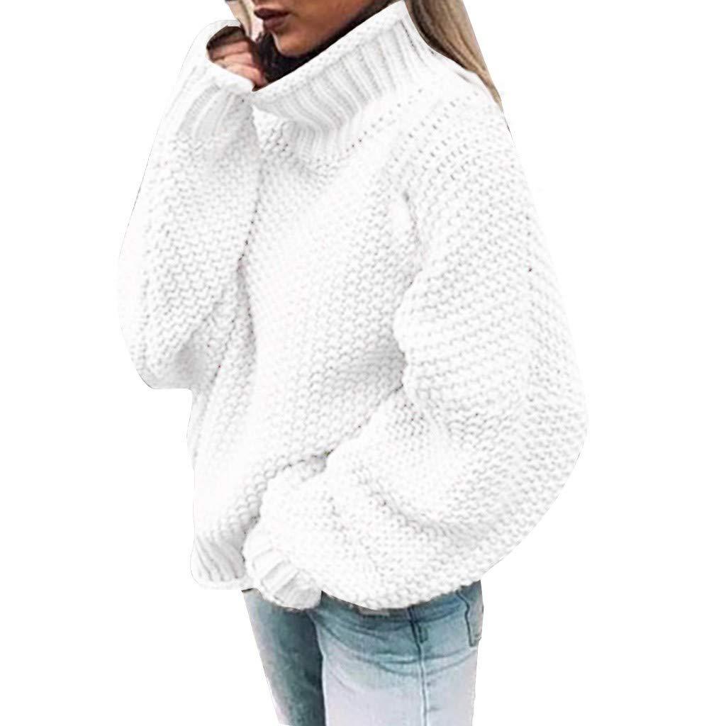Women's Knit Pullover Sweater Coats Jumper Tops Oversized Casual Long Sleeve Turtleneck Sweaters Winter Knitwear White by SSYUNO-women tops