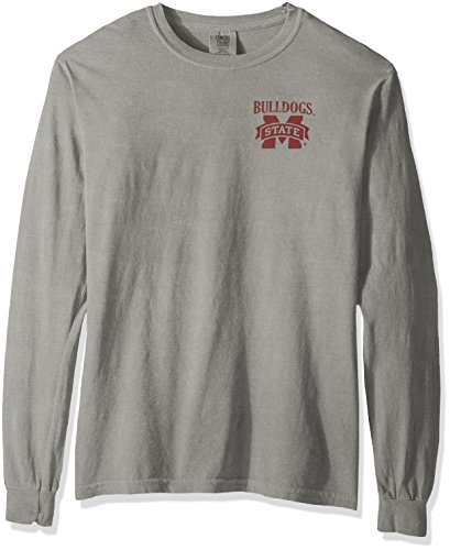 NCAA Mississippi State Bulldogs Vintage Poster Long Sleeve Comfort Color Tee, Large, Grey